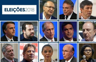 mosaico com treze candidatos das eleições presidenciais 2018