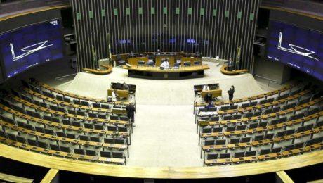 vista de cima da plenária do congresso vazia