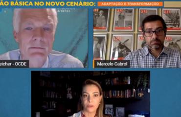 Andreas Schleider, Marcelo Cabrol e Priscila Cruz em transmissão online - sistemas educacionais