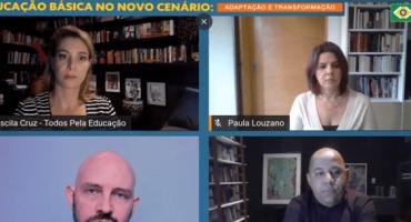 Mosaico de Priscila Cruz, Paula Louzano e mais 2 pessoas em transmissão online - crise