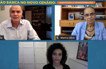 mosaico de 3 pessoas durante reunião online, com Drauzio Varella e Marina Silva - papel da educação