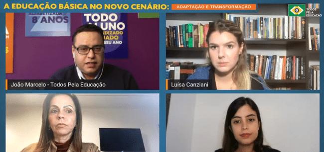 mosaico de 4 pessoas durante reunião online - crise fiscal