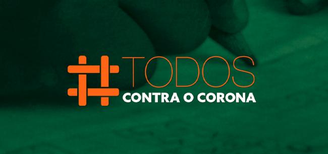banner verde com hashtag todos contra o corona em laranja