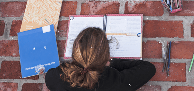 vista de cima pra baixo de jovem de cabelos presos deitada ao chão de tijolinhos e debruçada sobre seu caderno. Foto retirada no Brasil.