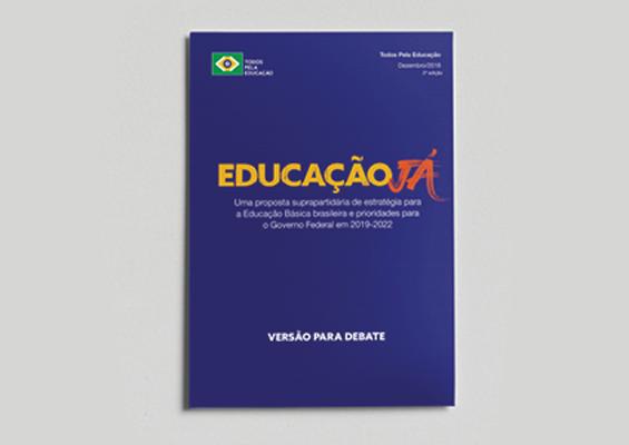 Capa do livro educação já, azul com os dizeres em amarelo e laranja