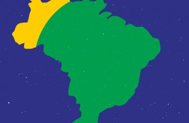 ilustração do mapa do brasil em verde e amarelo sobre fundo azul