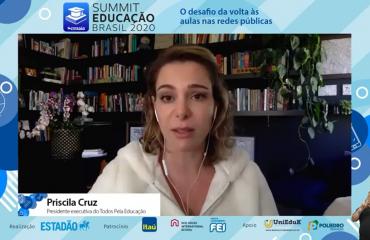 Priscila Cruz em evento online Summit Educação Brasil 2020