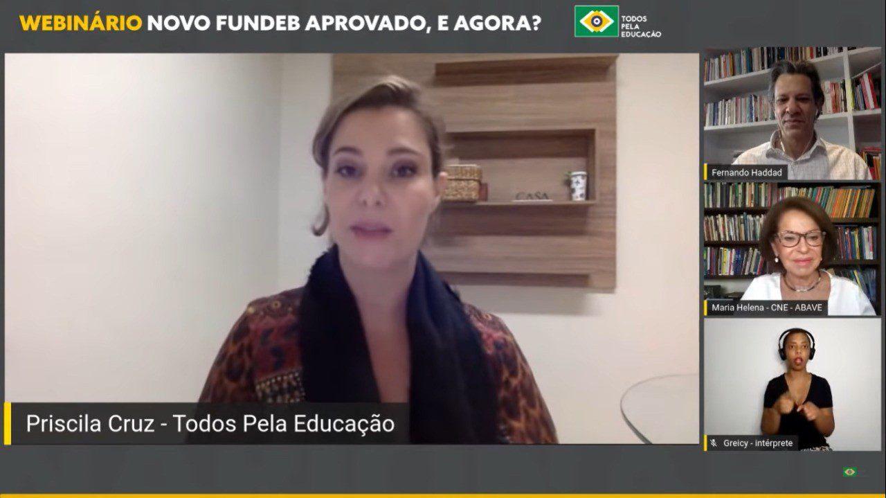 Webinário online com Priscila Cruz, Fernando Haddad, Maria Helena e intérprete de libras - 'Novo Fundeb Aprovado, e agora?'