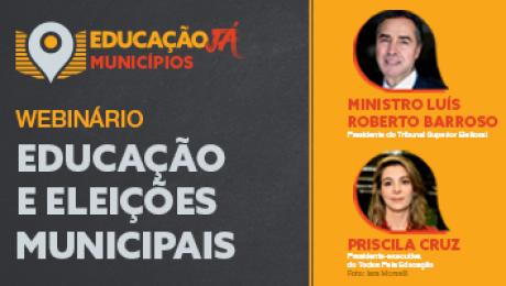 banner do webinário educação e eleições municipais - municípios