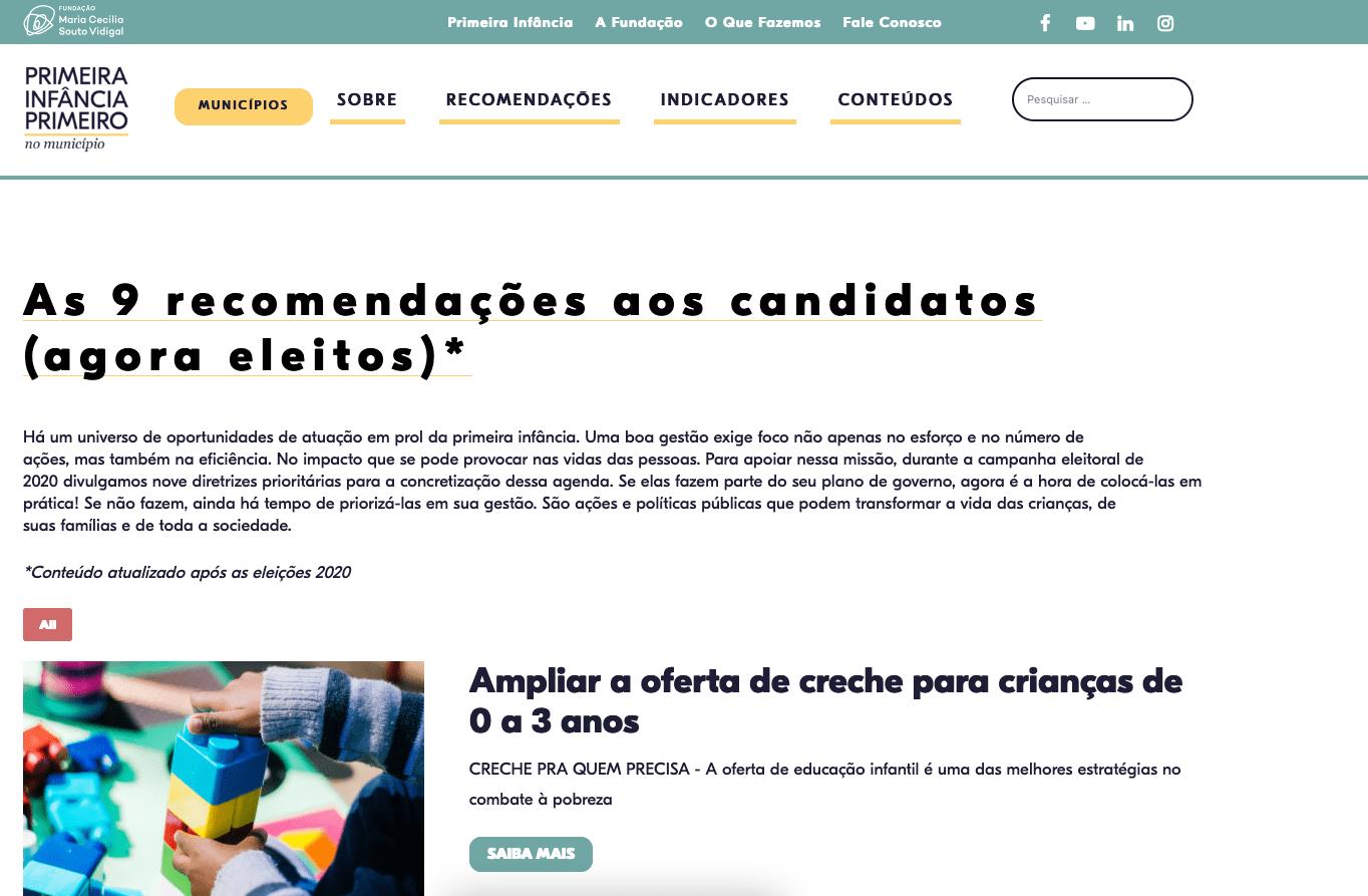 tela do sítio de internet da Fundação Maria Cecília Souto Vidigal