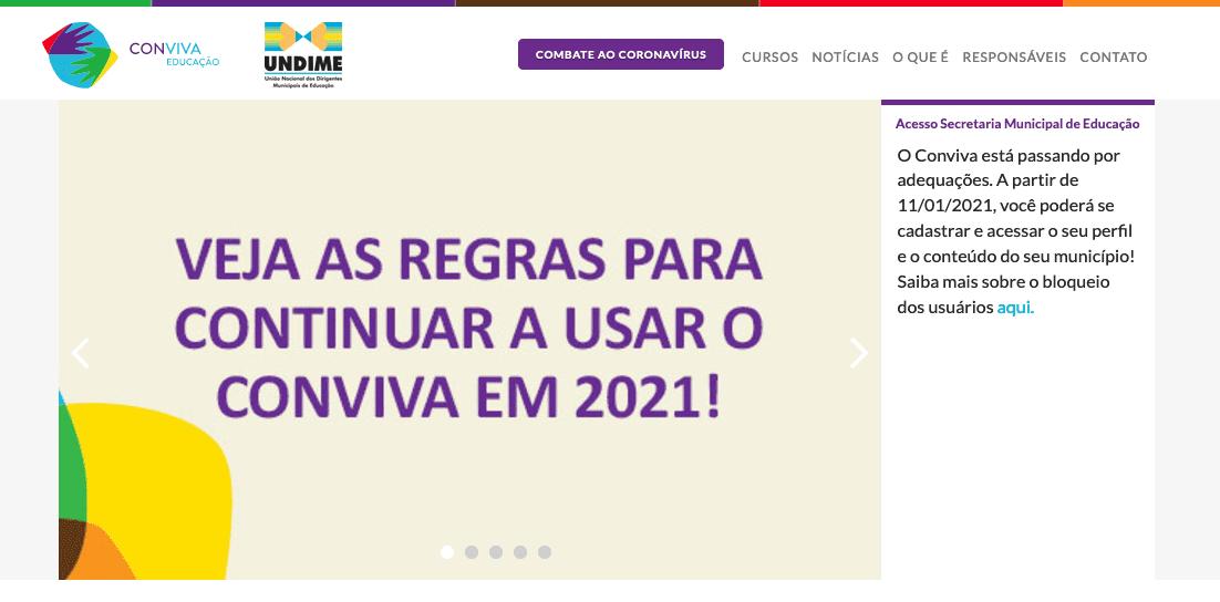 banner sobre regras para usar o Conviva em 2021