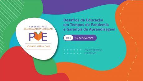 cartaz anunciando o Seminário Virtual PVE - Parceria pela valorização da Educaçã