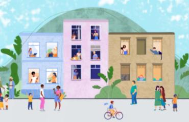 ilustração de uma com 3 prédios e pessoas espalhadas pelas áreas, andando a pé, de bicicleta e nas janelas