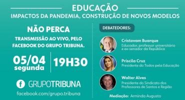 Card de divulgação de evento. A região em pauta - A Tribuna. Educação: impactos da pandemia, construção de novos modelos. 05/04, 19h30. Fotos dos participantes.