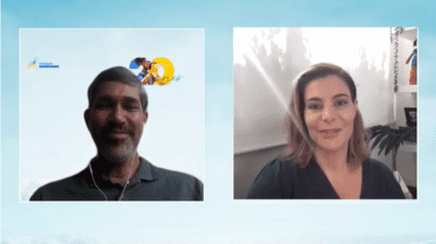 Print de videoconferência, um homem e uma mulher conversam.