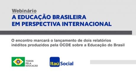 banner informativo de evento do Todos Pela Educação, ITAU e OCDE
