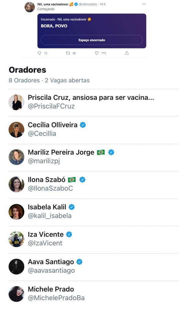 """Tweet de Nil Moretto convida: """"Bora povo"""". Abaixo, """"Oradores"""", fotos de 8 mulheres convidadas para o bate-papo no Twitter."""