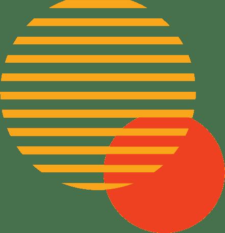 círculo formado por linhas amarelas com outro circulo laranja por detrás ao canto