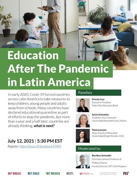 Parte de uma foto de sala de aula com crianças usando máscaras cirúrgicas. Education After the Pandemic in Latin America. Fotos das participantes e do moderador.