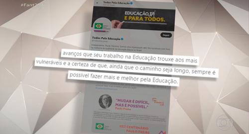 Tweet do Todos em homenagem a Paulo Freire